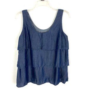 Banana Republic chambray tiered ruffle tank top
